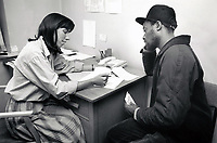Man visiting the doctor, Nottingham UK 1987