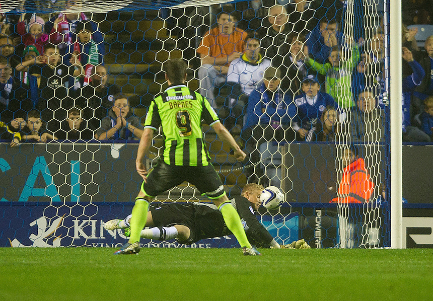 Leicester City's goalkeeper Kasper Schmeichel saves a penalty from Brighton and Hove Albion's Ashley Barnes to ensure his sides 1-0 victory..Football - npower Football League Championship - Leicester City v Brighton and Hove Albion - Tuesday 23rd October 2012 - King Power Stadium - Leicester..