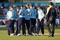 Steven Patterson celebrates with his Yorskshire team mates after taking the wicket of Ashar Zaidi during Essex Eagles vs Yorkshire Vikings, Royal London One-Day Cup Play-Off Cricket at The Cloudfm County Ground on 14th June 2018
