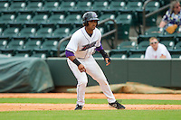 Micah Johnson (3) of the Winston-Salem Dash takes his lead off of first base against the Myrtle Beach Pelicans at BB&T Ballpark on July 7, 2013 in Winston-Salem, North Carolina.  The Pelicans defeated the Dash 4-2 in game one of a double-header.  (Brian Westerholt/Four Seam Images)