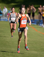 Nov 14, 2015; Claremont, CA, USA; Melina Devoney of Occidental runs in the womens race during the 2015 NCAA Division III West Regionals cross country championships at Pomona-Pitzer College. (Freelance photo by Kirby Lee)