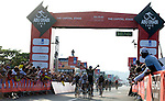 Elia Viviani (ITA) Team Sky outsprints World Champion Peter Sagan (SVK) Tinkoff-Saxo to win Stage 2, The Capital Stage, of the 2015 Abu Dhabi Tour running 129 km from Yas Marina Circuit to Yas Mall, Abu Dhabi. 9th October 2015.<br /> Picture: ANSA/Claudio Peri | Newsfile