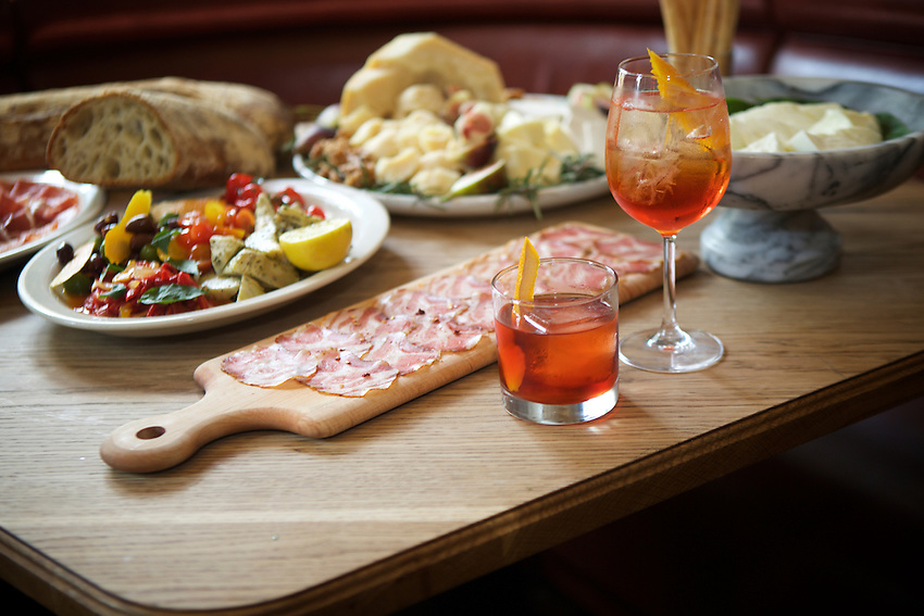 New York, NY - June 29, 2016: Chef Sal Lamboglia of Bar Primi demonstrates how he puts together antipasti for a party.<br /> CREDIT: Clay Williams for Food Republic.<br /> <br /> &copy; Clay Williams / claywilliamsphoto.com