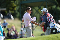 Peter Uihlein (USA) shakes hands with Paul McGinley (IRL) caddie during Round Three at the 2013 ISPS Handa Wales Open from the Celtic Manor Resort, Newport, Wales. Picture:  David Lloyd / www.golffile.ie