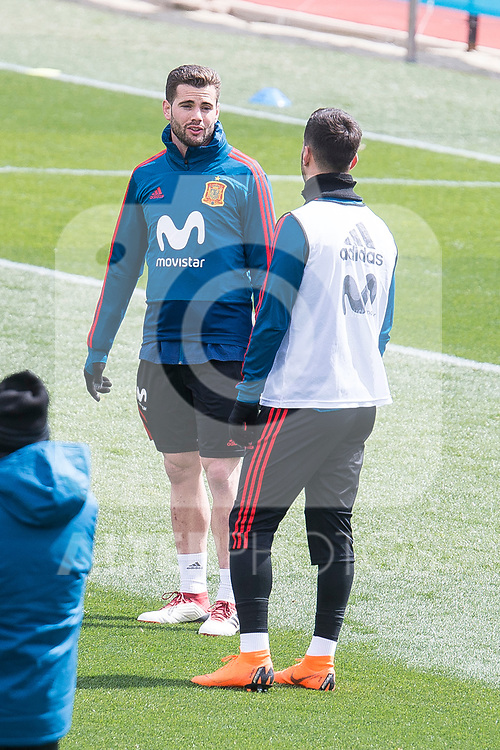 Nacho Fernando and Marco Asensio during Spain training session a few days before soccer match between Spain and Argentina in Madrid , Spain. March 24, 2018. (ALTERPHOTOS/Borja B.Hojas)