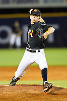 VMI Keydets relief pitcher Reed Garrett #12 in action against the High Point Panthers at Willard Stadium on March 31, 2012 in High Point, North Carolina.  The Panthers defeated the Keydets 2-0.  (Brian Westerholt/Four Seam Images)