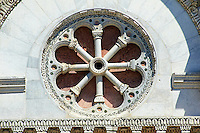 Detail of the Rose window  of San Michele in Foro is a Roman Catholic basilica church in Lucca, Tunscany, Italy