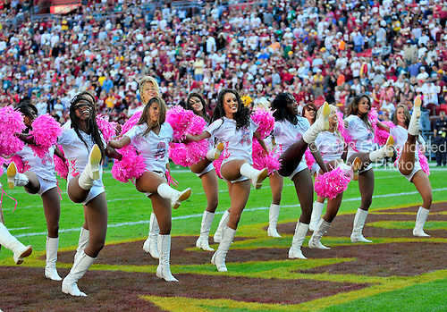 Washington Redskins cheerleaders, wearing their National Football League (NFL) October National Breast Cancer Awareness Month t-shirts, perform in the fourth quarter against thePhiladelphia Eagles  at FedEx Field in Landover, Maryland on Sunday, October 16, 2011.  The Eagles won the game 20 - 13..Credit: Ron Sachs / CNP