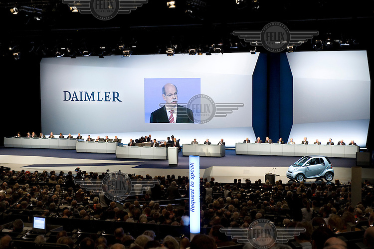 Dieter Zetsche, CEO of Daimler AG, speaks to those gathered for the annual shareholders meeting.