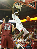 NWA Democrat-Gazette/Michael Woods --02/03/2015--w@NWAMICHAELW... University of Arkansas forward Bobby Portis goes up for the dunk during Tuesday nights game against the South Carolina Gamecocks at Bud Walton Arena in Fayetteville.