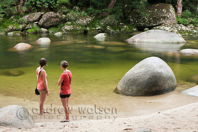 Tourists at Mossman Gorge - a popular swimming area in Daintree National Park.  Mossman, Queensland, Australia