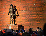 John Greig looking down on the Rangers supporters outside the stadium before the match