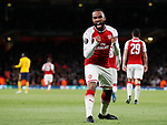 Alexandre Lacazette of Arsenal celebrates scoring the first goal during the Europa League Semi Final 1st Leg, match at the Emirates Stadium, London. Picture date: 26th April 2018. Picture credit should read: David Klein/Sportimage