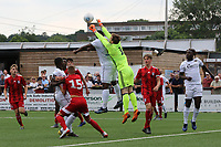 Fulham goalkeeper, Taye Ashby-Hammond punches the ball clear to foil a Bromley attack during Bromley vs Fulham, Friendly Match Football at the H2T Group Stadium on 6th July 2019
