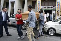 Roma, 2 Ottobre 2014<br /> Funerale islamico nella Moschea di Torpignattara di Muhammad Shahzad Khan, il giovane pakistano ucciso nel quartiere da un 17enne italiano che ha confessato l'omicidio.<br /> Gianaza, il rito islamico del funerale.<br /> <br /> La salma  dopo il funerale verrà riportata in Pakistan.<br /> <br /> <br /> Rome, October 2, 2014 <br /> Islamic burial in the Mosque of Torpignattara of Muhammad Shahzad Khan, the young Pakistani killed in the district by a 17 year old Italian who has confessed the murder.<br /> The body will be returned after the funeral in Pakistan.
