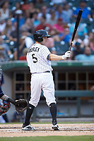 Alex Presley (5) of the Charlotte Knights at bat against the Toledo Mud Hens at BB&T BallPark on June 22, 2018 in Charlotte, North Carolina. The Mud Hens defeated the Knights 4-0.  (Brian Westerholt/Four Seam Images)