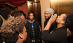 Grasan Kingsberry and Carrie Compere with Cast members of 'The Color Purple' host a meet and greet with kids from PAL at The Jacobs Theatre on December 7, 2016 in New York City.