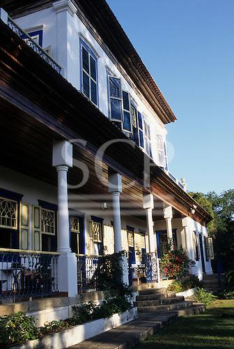 Rio de Janeiro State, Brazil. Fazenda Policarpo; typical colonial ranch fazenda with verandah colonnade.
