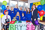James O'Donoghue and Alana O'Connor from AIB  with Killarney Presentation students who did the Build A Bank challenge in the school on Monday front row l-r:Claire Stagg, Mairead O'Donoghue, back row: Treasa O'Sullivan, Ava Doherty, Grace Courtney, Aisling Coffey, Kate O'Sullivan,