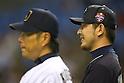 Hisashi Iwakuma (Mariners),<br /> NOVEMBER 15, 2014 - Baseball : <br /> 2014 All Star Series Game 3 between Japan 4-0 MLB All Stars <br /> at Tokyo Dome in Tokyo, Japan. <br /> (Photo by Shingo Ito/AFLO SPORT)[1195]