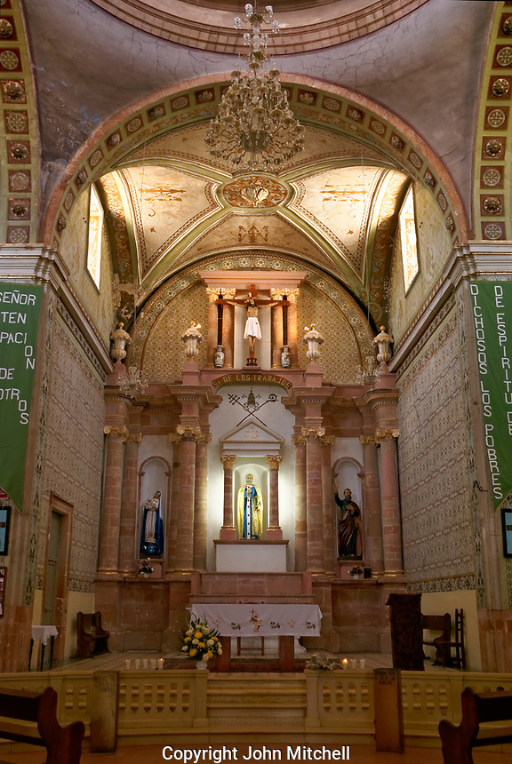 Interior of the Parroquia San Pedro church in the 19th century mining town of Mineral de Pozos, Guanajuato, Mexico.