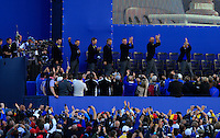 Paul McGinley (Captain) and the European Team arrive on stage at the awards ceremony during the Sunday Singles Matches of the Ryder Cup at Gleneagles Golf Club on Sunday 28th September 2014.<br /> Picture:  Thos Caffrey / www.golffile.ie