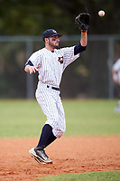 Western Connecticut Colonials second baseman Joe Costa (4) catches a throw from the catcher to tag out a base runner attempting to steal during the first game of a doubleheader against the Edgewood College Eagles on March 13, 2017 at the Lee County Player Development Complex in Fort Myers, Florida.  Edgewood defeated Western Connecticut 3-0.  (Mike Janes/Four Seam Images)