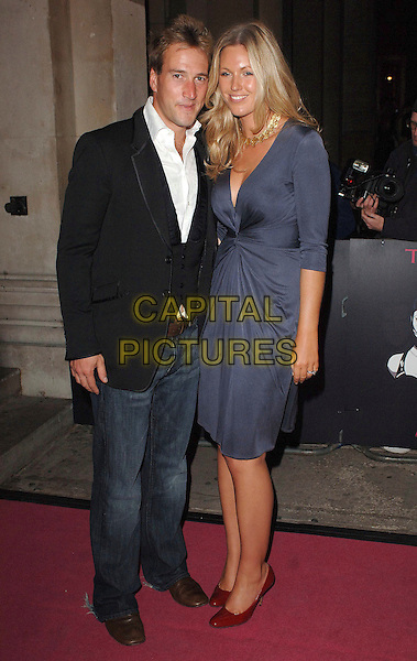 BEN FOGLE & MARINA HUNT.Theo Fennell: Show Off - Cocktail Party, Royal Academy Of Arts, London, England. .September 27th, 2007 .full length dress grey gray jeans denim black suit jacket couple .CAP/ BEL.©Tom Belcher/Capital Pictures.