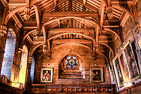 King's Hall inside Bamburgh Castle. Haldheld HDR..The Bamburgh Castle is one of the largest inhabited castles in the UK. Located in northeast England, right by the beach on the shores of Northumberland. With a recorded history going back to the year 547, Bamburgh Castle played a central role in many of the historic periods of this region..The King's Hall inside Bamburgh Castle is used as museum and hosts events like weddings.
