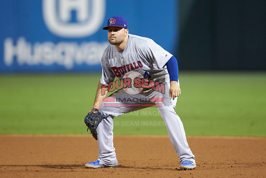 Buffalo Bisons first baseman Rowdy Tellez (34) on defense against the Caballeros de Charlotte at BB&T BallPark on July 23, 2019 in Charlotte, North Carolina. The Bisons defeated the Caballeros 8-1. (Brian Westerholt/Four Seam Images)