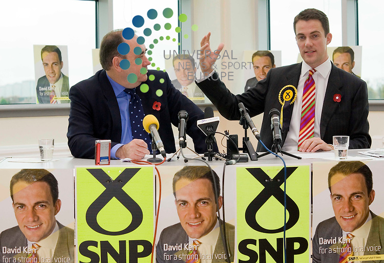 SNP Candidate David Kerr and First Minister Alex Salmond hold a press conference and launch their Glasgow North East by-election campaign, caused by the departure of Michael Martin , speaker of the house of commons. Picture Johnny Mclauchlan/Universal news and Sport (Scotland)14/10/09
