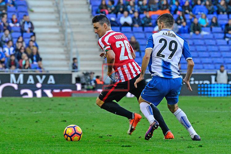 League Santander 2016/2017. Game: 11.<br /> RCD Espanyol vs Athletic Club: 0-0.<br /> Aaron Martin vs Aritz Aduriz.