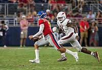 NWA Democrat-Gazette/BEN GOFF @NWABENGOFF<br /> Mataio Soli, Arkansas defensive end, hurries Matt Corral, Ole Miss quarterback, in the third quarter Saturday, Sept. 7, 2019, at Vaught-Hemingway Stadium in Oxford, Miss.