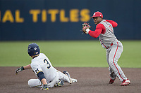 Indiana Hoosiers shortstop Jeremy Houston (1) attempts to turn a double play as Miles Lewis (3) of the Michigan Wolverines slides into second base during the NCAA baseball game on April 21, 2017 at Ray Fisher Stadium in Ann Arbor, Michigan. Indiana defeated Michigan 1-0. (Andrew Woolley/Four Seam Images)