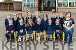 Pauline Griffin and her new pupils at Castledrum NS on their first day at school  on Monday (school has no name policy)