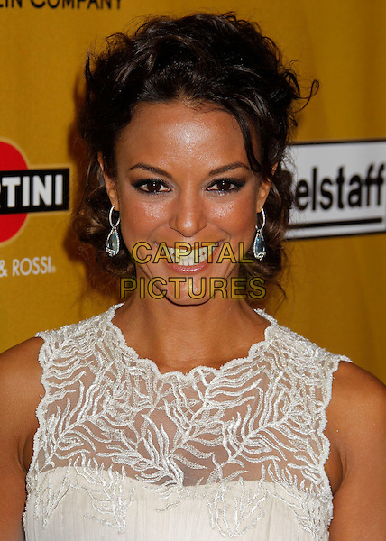 EVA LaRUE.Weinstein Company Post Golden Globe Party held at Bar210 & Plush Ultra Lounge at the Beverly Hilton Hotel, Beverly Hills, California, USA..January 17th, 2009.globes headshot portrait earrings white cream beige la rue pattern sleeveless .CAP/ADM/MJ.©Michael Jade/Admedia/Capital Pictures