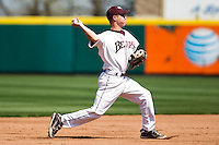 Travis McComack (31) of the Missouri State Bears throws to first during a game against the Wichita State Shockers on April 9, 2011 at Hammons Field in Springfield, Missouri.  Photo By David Welker/Four Seam Images