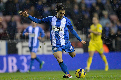 24.11.2012 Wigan, England. Jordi Gomez of Wigan in action during the Premier League game between Wigan Athletic and Reading at the DW Stadium.