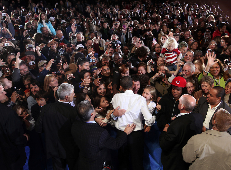 Oct 29, 2010. President Barack Obama greets crowd members attending a campaign rally for Virginia 5th District Representative Congressman Tom Perriello Friday at the Charlottesville Pavilion in downtown Charlottesville, Va. (Credit Image: © Andrew Shurtleff)
