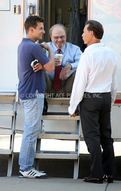 WWW.ACEPIXS.COM . . . . .  ....August 12 2011, Schenectady,  NY....(L-R) Actors Bradley Cooper, Harris Yulin and Brian Greenwood on the Schenectady set of the new movie 'The Place Beyond the Pines' on August 12, 2011 in Up State New York.....Please byline: PHILIP VAUGHAN - ACE PICTURES.... *** ***..Ace Pictures, Inc:  ..Philip Vaughan (212) 243-8787 or (646) 679 0430..e-mail: info@acepixs.com..web: http://www.acepixs.com