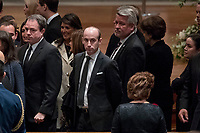 President Donald Trump's White House Senior Adviser Stephen Miller, center, and White House deputy chief of staff for communications Bill Shine, center right, arrives for a State Funeral for former President George H.W. Bush at the National Cathedral, Wednesday, Dec. 5, 2018,  in Washington.<br /> CAP/MPI/RS<br /> &copy;RS/MPI/Capital Pictures