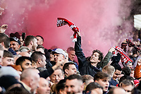 1st February 2020; St Andrews, Birmingham, Midlands, England; English Championship Football, Birmingham City versus Nottingham Forest; The Nottingham Forest fans celebrate their teams opening goal in the 19th minute