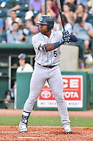 Southern Divisions right fielder Steven Sensly (5) of the Charleston RiverDogs awaits a pitch during the South Atlantic League All Star Game at First National Bank Field on June 19, 2018 in Greensboro, North Carolina. The game Southern Division defeated the Northern Division 9-5. (Tony Farlow/Four Seam Images)