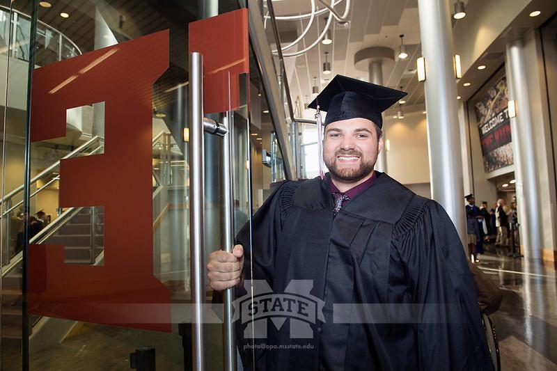 MSU Spring Graduation at Humphrey Coliseum - student graduates before ceremony.<br />  (photo by Megan Bean / &copy; Mississippi State University)