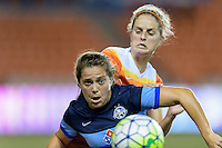 Houston, TX - Sunday June 19, 2016: Alexa Newfield, Ellie Brush during a regular season National Women's Soccer League (NWSL) match between the Houston Dash and FC Kansas City at BBVA Compass Stadium.