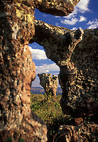 National Park of Chapada dos Guimaraes - Cidade de Pedra ( Stone City ), rock formations of sandstone, carved by wind and rain in Mato Grosso state - Brazil. Chapada dos Guimaraes is a county and a mountain range located in central Brazil, 62 km from the city of Cuiaba, the capital of Mato Grosso State. This range is surrounded by Brazilian savannas (also known as cerrado) and the Amazon rainforest. Many people travel to see the wildlife, waterfalls and canyons in the area.