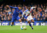 9th November 2019; Stamford Bridge, London, England; English Premier League Football, Chelsea versus Crystal Palace; Reece James of Chelsea challenges Wilfried Zaha of Crystal Palace - Strictly Editorial Use Only. No use with unauthorized audio, video, data, fixture lists, club/league logos or 'live' services. Online in-match use limited to 120 images, no video emulation. No use in betting, games or single club/league/player publications
