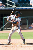 Peoria Javelinas shortstop Ray-Patrick Didder (1), of the Atlanta Braves organization, at bat during an Arizona Fall League game against the Surprise Saguaros at Surprise Stadium on October 17, 2018 in Surprise, Arizona. (Zachary Lucy/Four Seam Images)