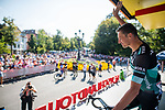 Marcus Burghardt (GER) Bora-Hansgrohe at sign on before Stage 3 of the Deutschland Tour 2019, running 189km from Gottingen to Eisenach, Germany. 31st August 2019.<br /> Picture: ASO/Marcel Hilger | Cyclefile<br /> All photos usage must carry mandatory copyright credit (© Cyclefile | ASO/Marcel Hilger)