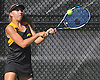Emma Mangels of Commack returns a shot during the Suffolk County girls tennis Division I doubles consolation final against Half Hollow Hills East at Half Hollow Hills West High School on Tuesday, Oct. 11, 2016.